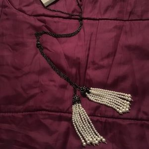 NWT - Topshop long necklace - white